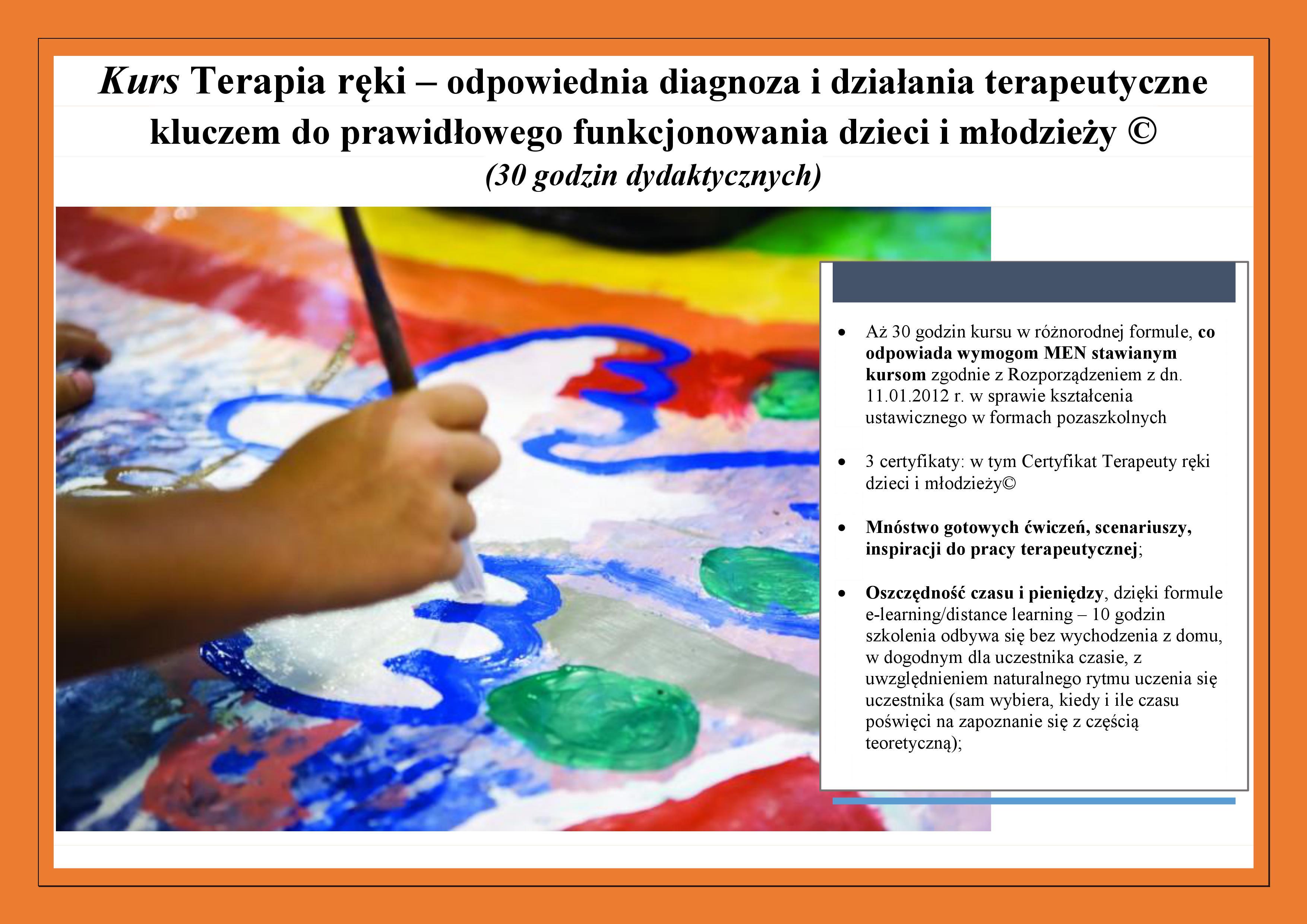 Pruszków. Kurs Terapia ręki dzieci i młodzieży©. Start 06.11.2018 r.