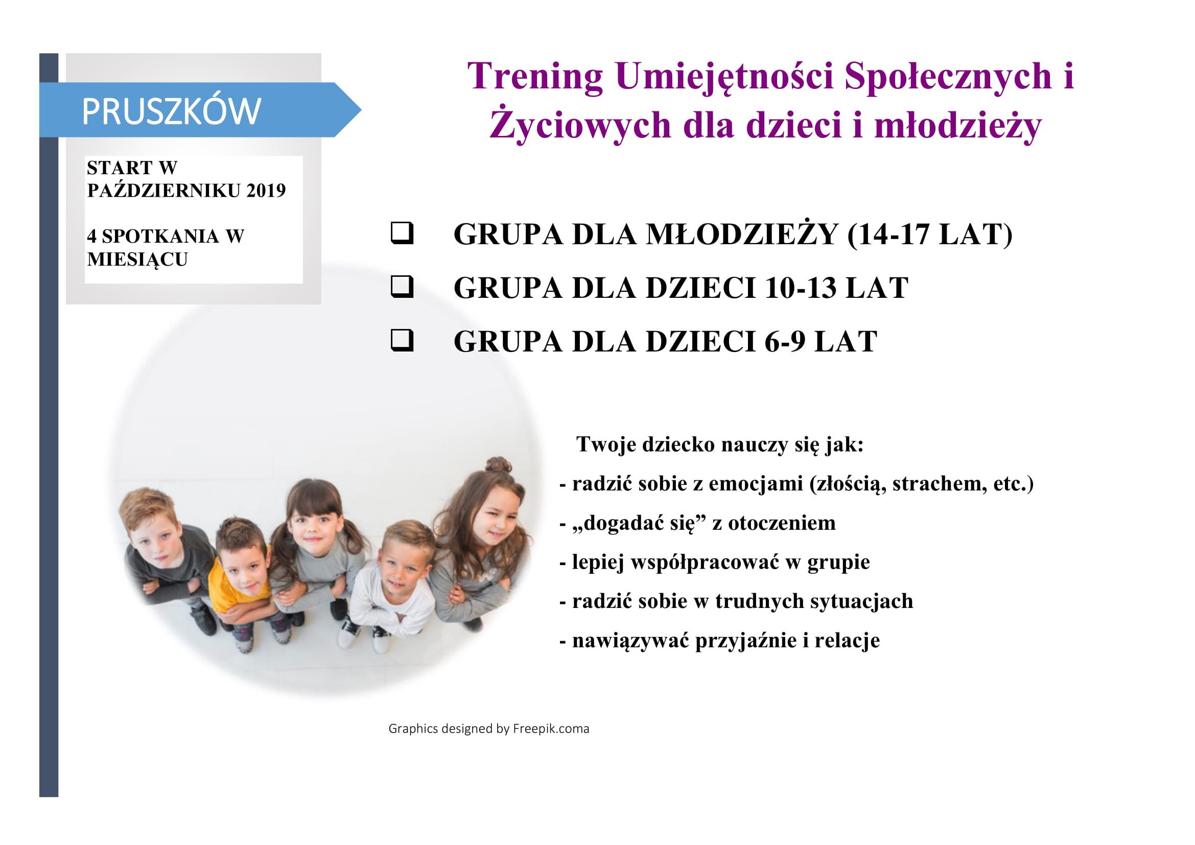 Pruszków. Grupa TUS dla uczniów w wieku 10-13 lat