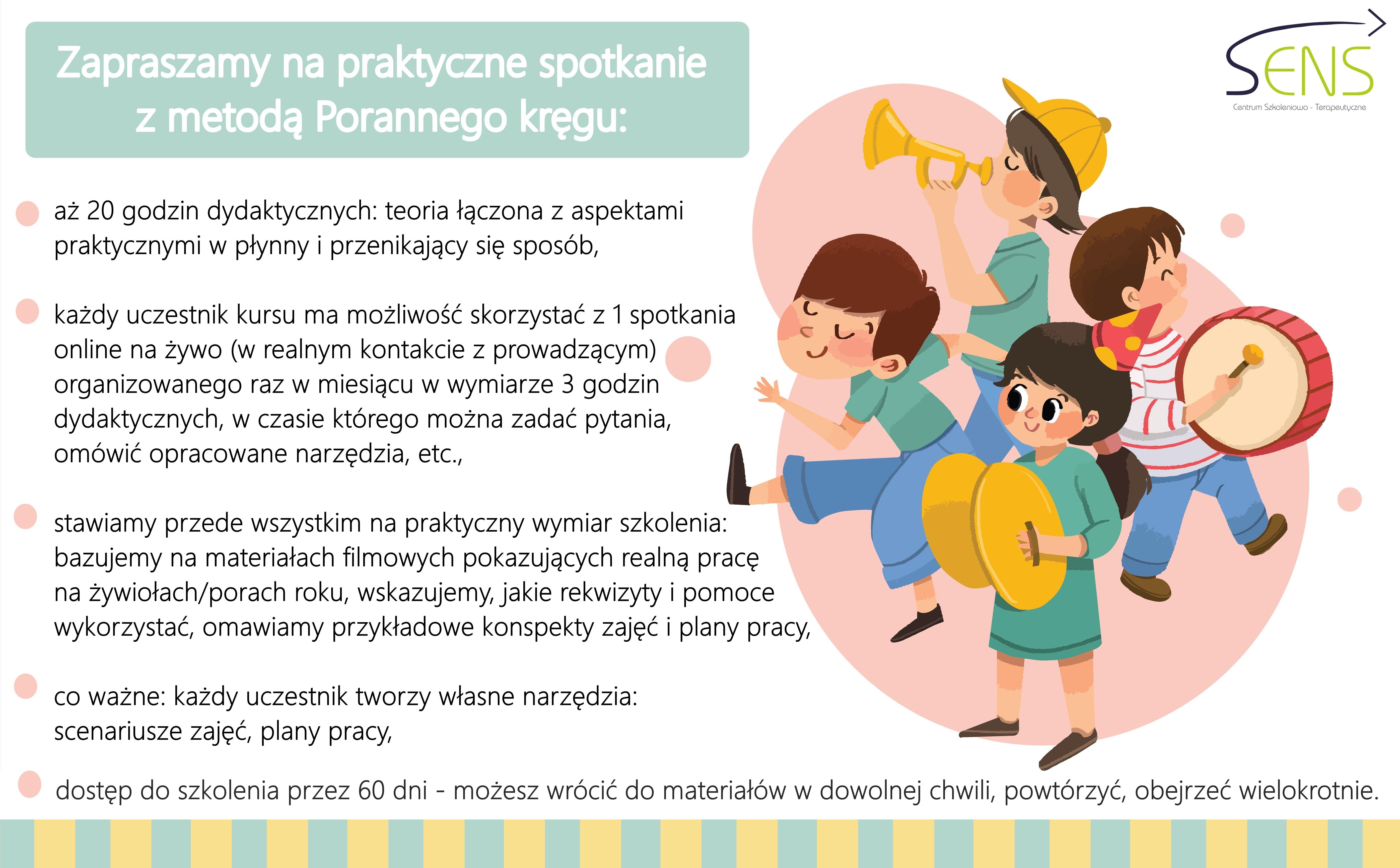 Multisensoryczne formy wspierania rozwoju dzieci metoda Porannego kręgu. Szkolenie online. Dostęp 60 dni
