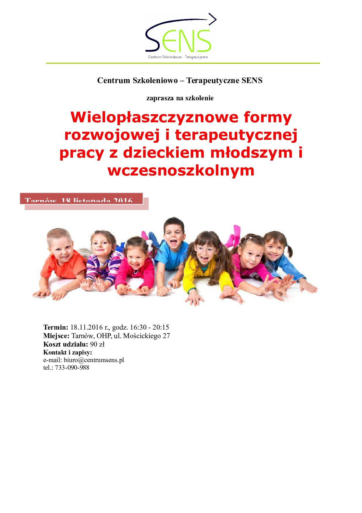 Tarnów. Wielopłaszczyznowe formy pracy z dzieckiem. 18.11.2016 r.