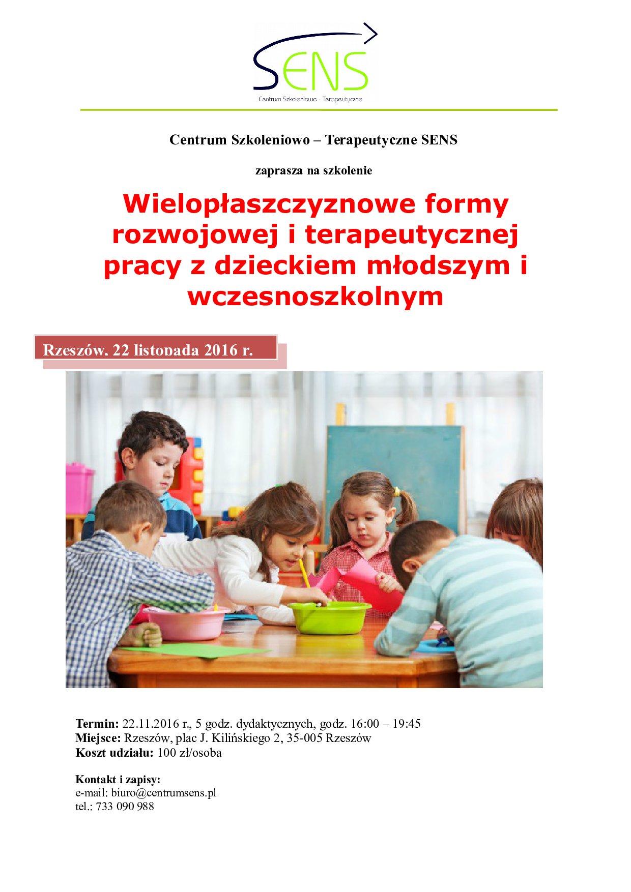 Rzeszów. Wielopłaszczyznowe formy pracy z dzieckiem. 22.11.2016 r.