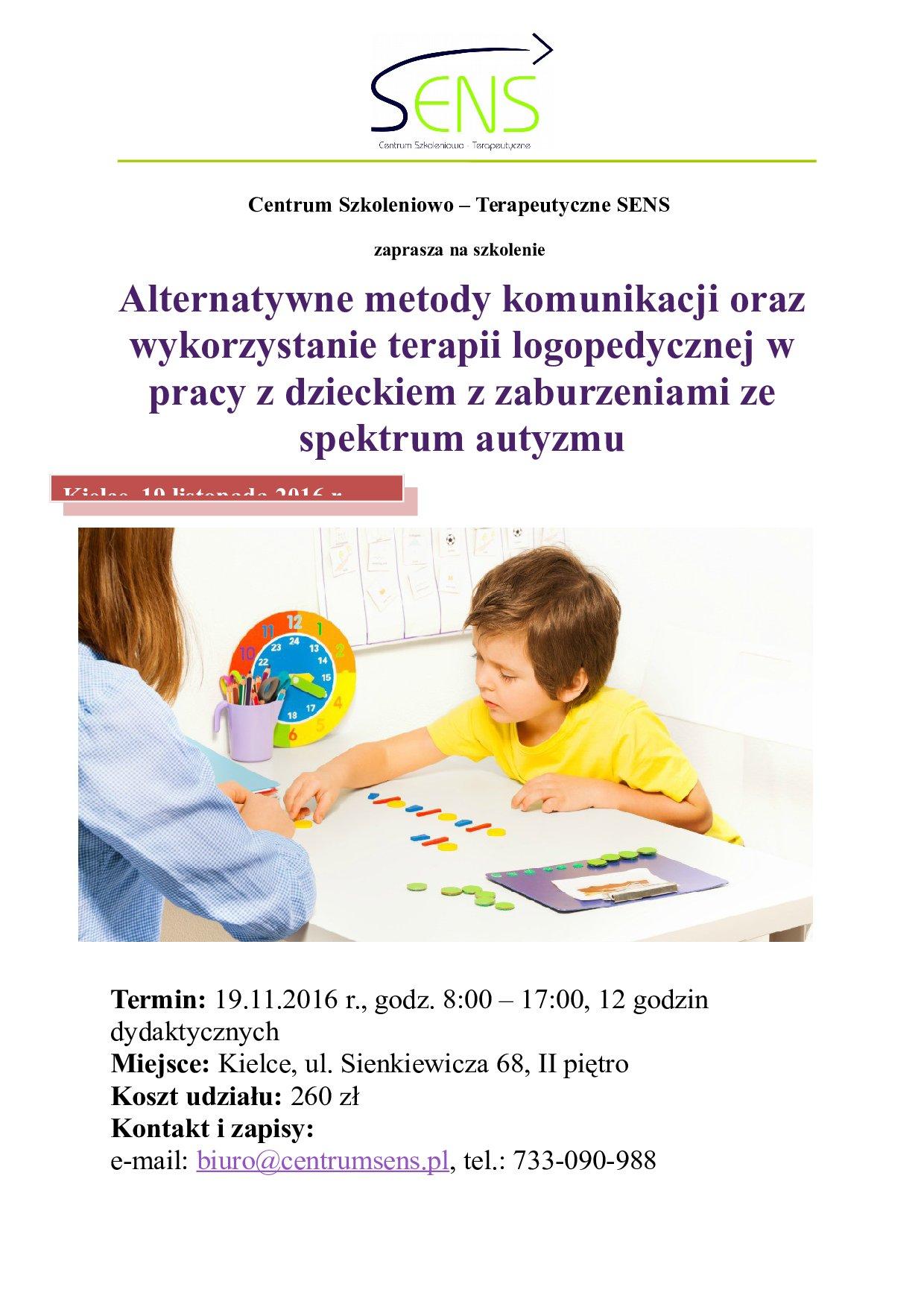 Kielce. Alternatywne metody komunikacji oraz terapia logopedyczna dziecka z autyzmem. 19.11.2016 r.