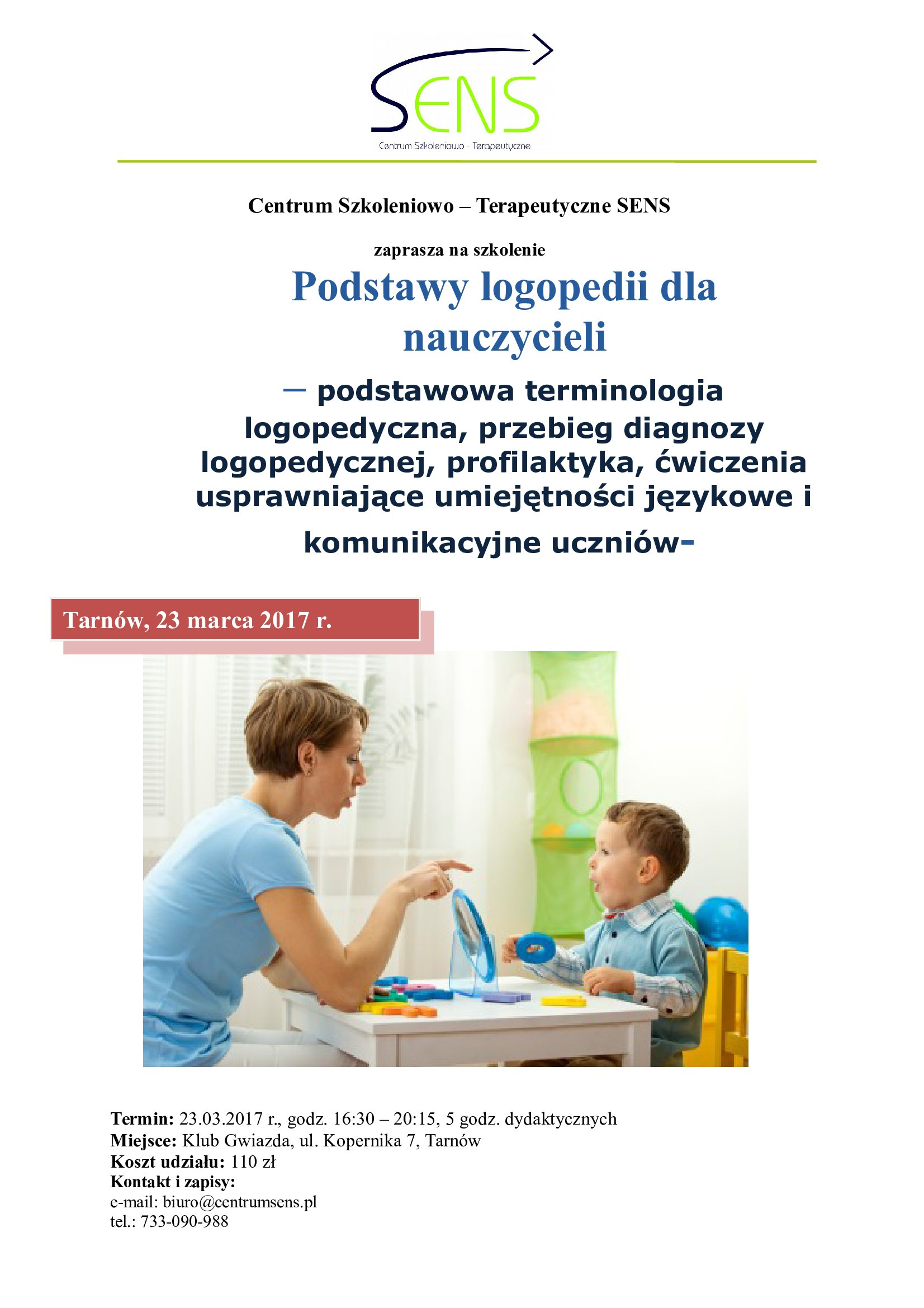 Tarnów. Podstawy logopedii dla nauczycieli.23.03.2017 r.