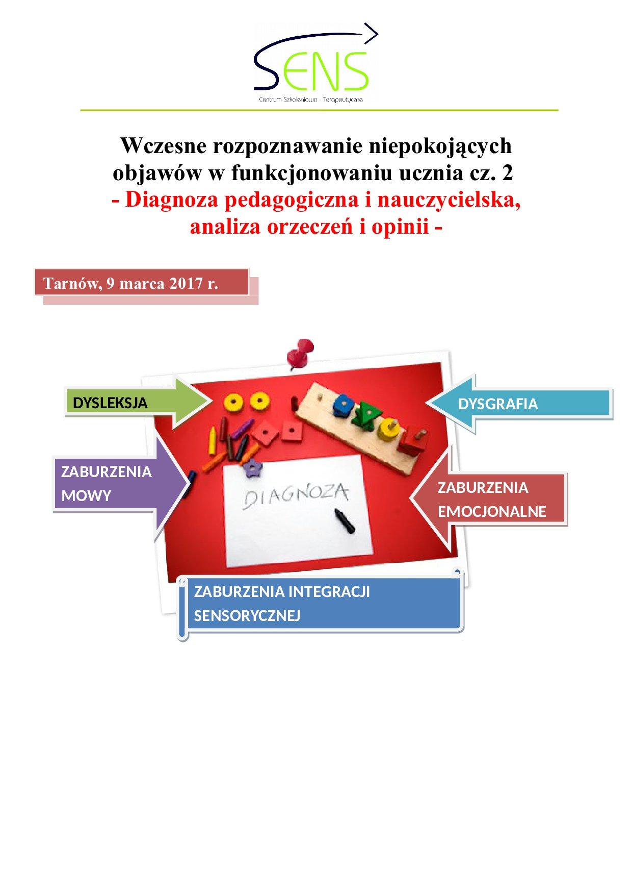 Tarnów. Diagnoza nauczycielska i pedagogiczna. 09.03.2017 r.