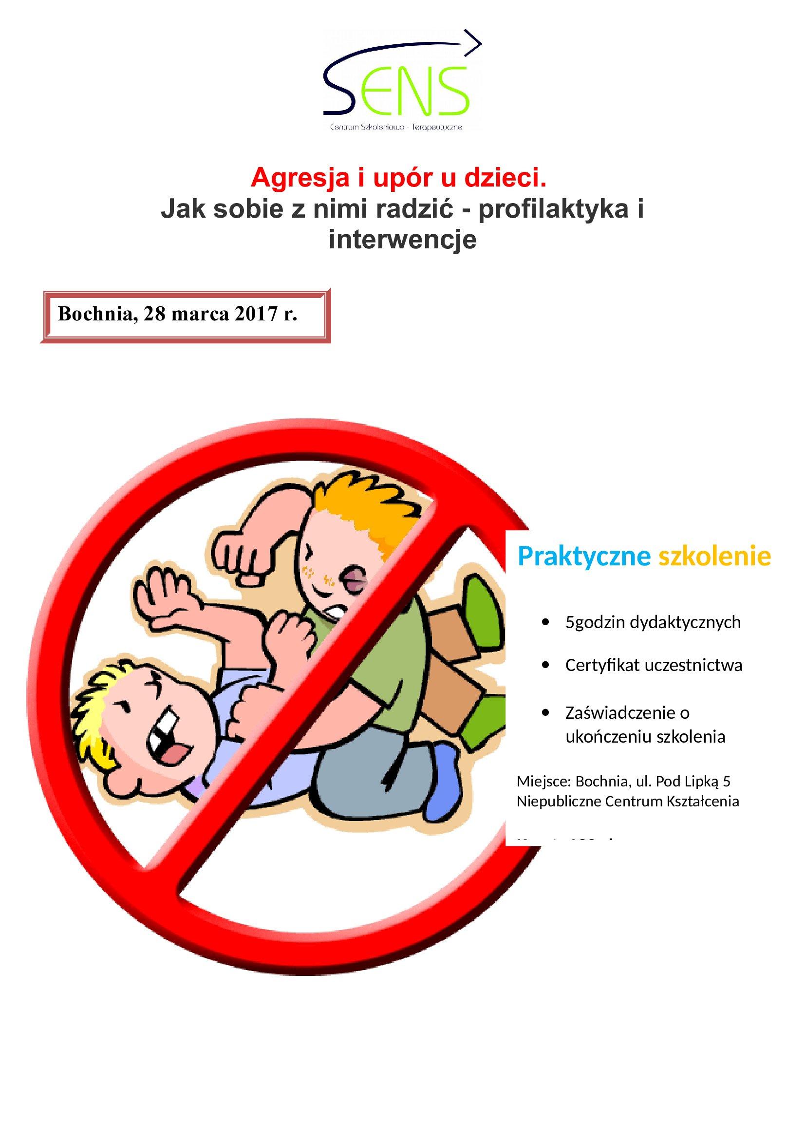 Bochnia. Agresja - profilaktyka i interwencje. 28.03.17 r.